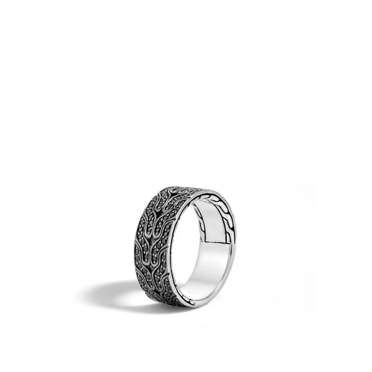 Men's Classic Chain 8.5MM Band Ring in Silver with Gemstone, Black Sapphire, large