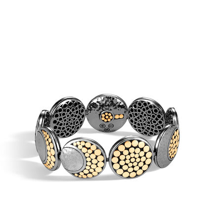 Dot Moon Phase Bracelet, Blackened Hammered Silver, 18K Gold