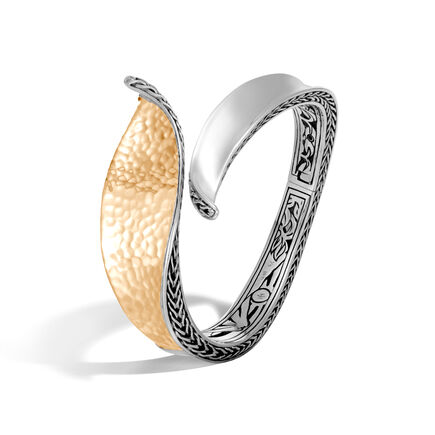 Classic Chain Wave Hinged Bangle, Silver, Hammered 18K Gold