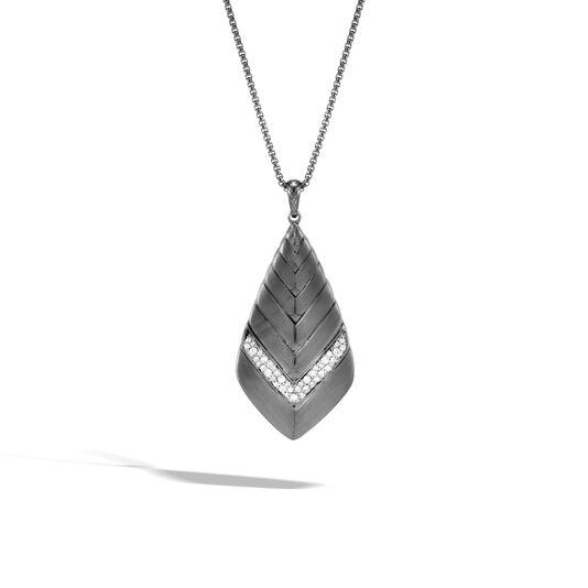 Modern Chain Pendant Necklace in Blackened Silver, Diamonds, White Diamond, large