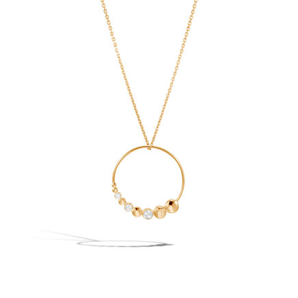 Dot Pendant Necklace in Hammered 18K Gold with Diamonds