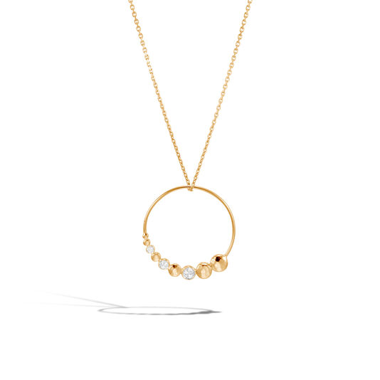Dot Pendant Necklace in Hammered 18K Gold with Diamonds, White Diamond, large