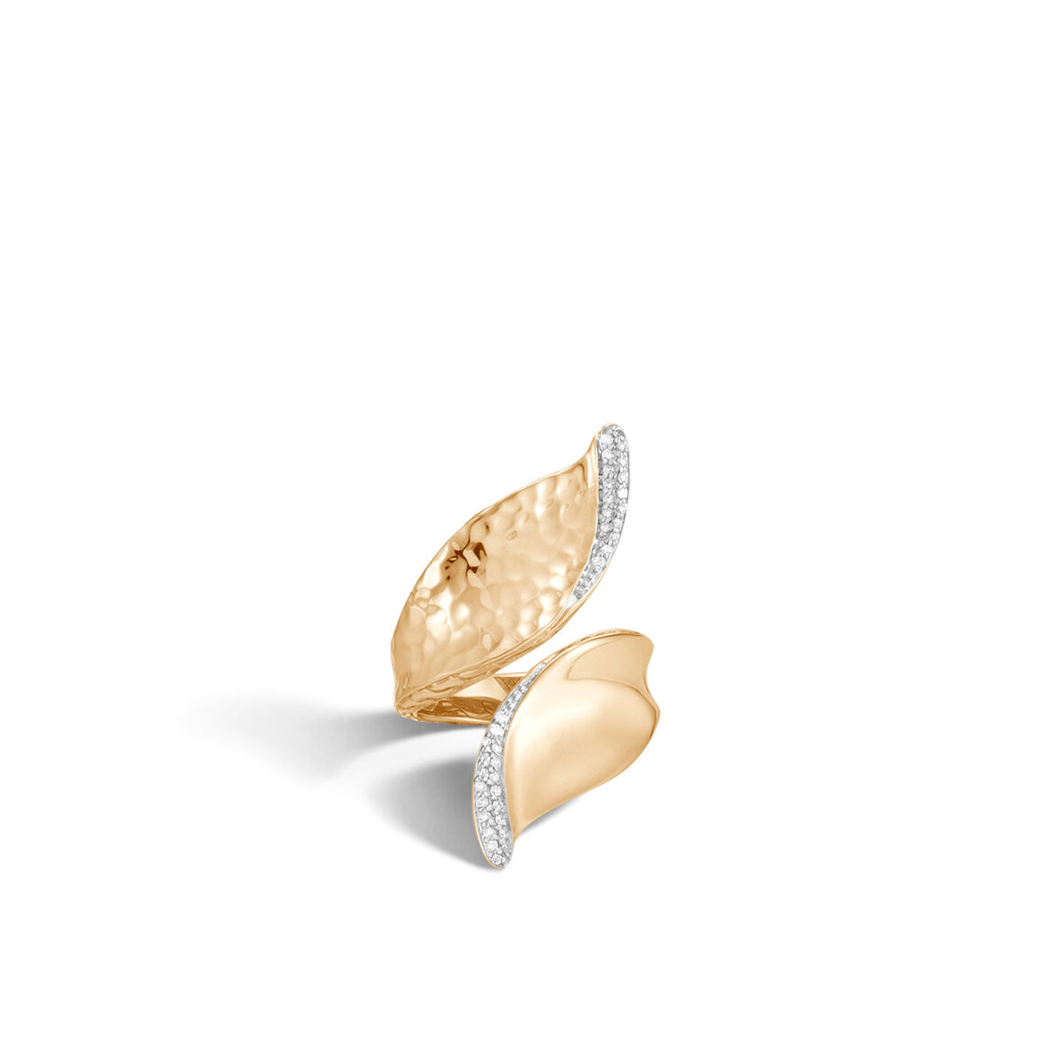 Classic Chain Wave Bypass Ring, Hammered 18K Gold, Diamonds