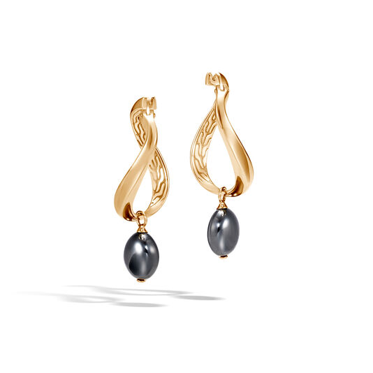 AAxJH Classic Chain Drop Earring in 18K Gold with 10x8MM Gemstone, , large