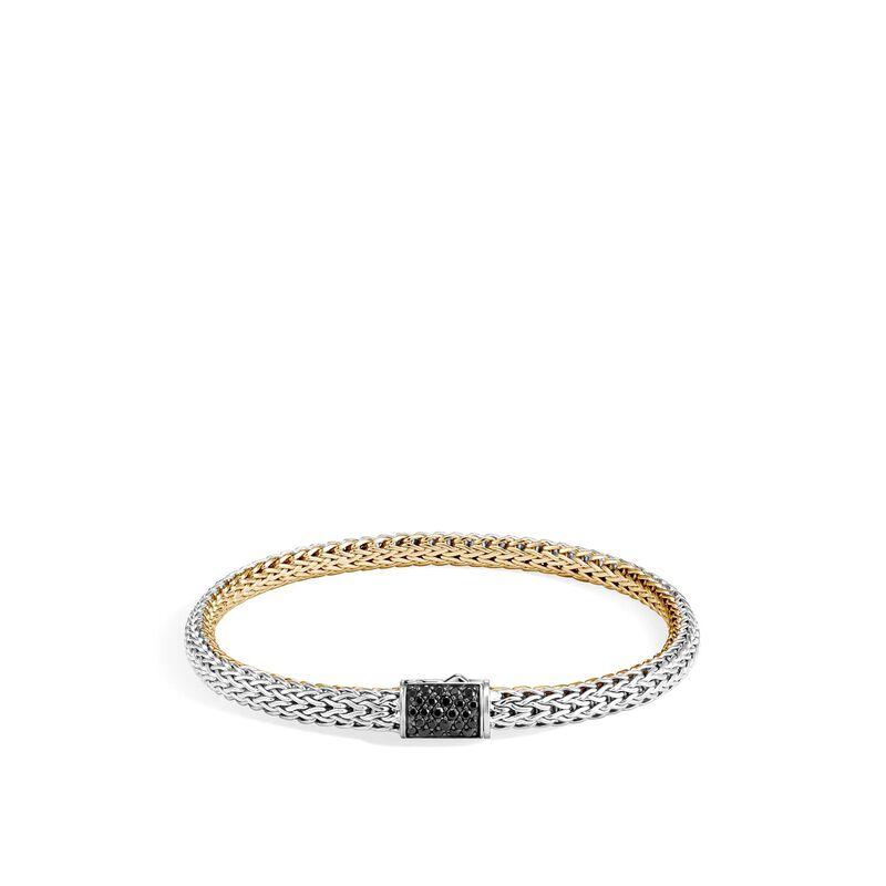 Reversible 5MM Bracelet, Silver, 18K Gold, Diamond, Treated Black Sapphire, large
