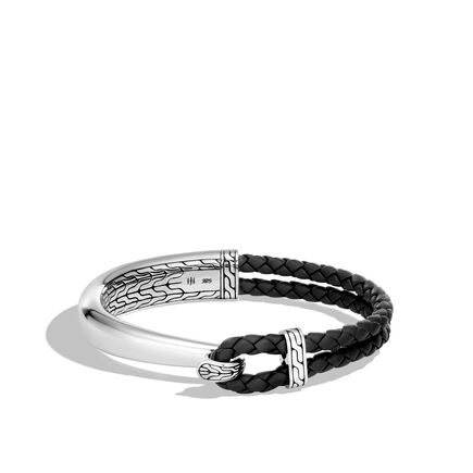 Classic Chain Half Cuff Bracelet in Silver and Leather
