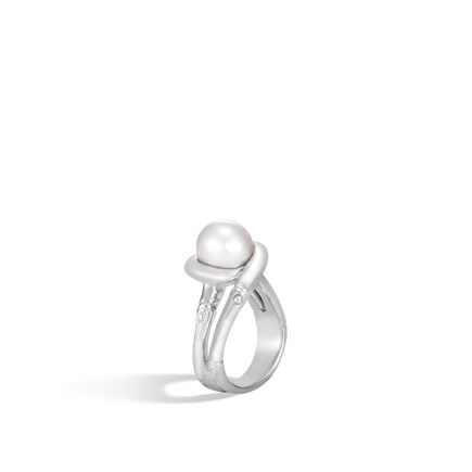 Bamboo Ring in Silver with 9.5-10MM Pearl