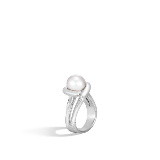 Bamboo Ring in Silver with 9.5-10MM Pearl, White Fresh Water Pearl, large