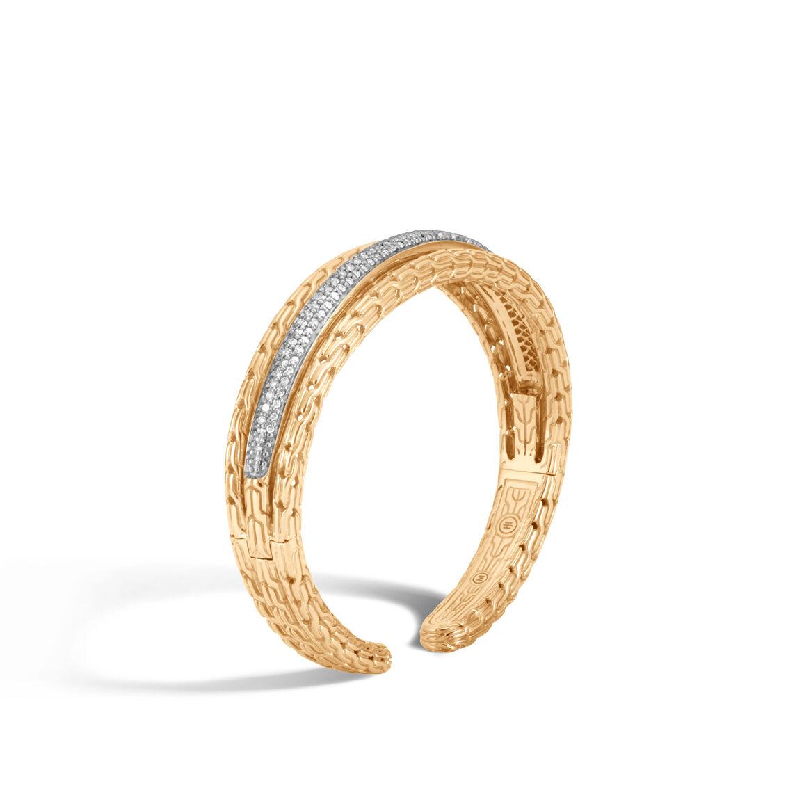 Classic Chain 14MM Cuff in 18K Gold with Diamonds