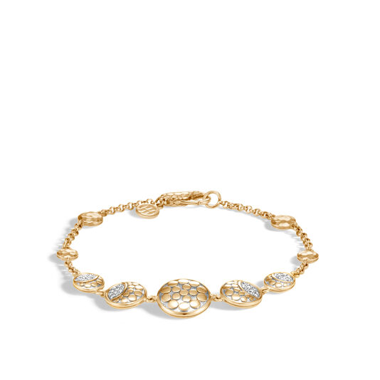 Dot Link Bracelet in Hammered 18K Gold with Diamonds, White Diamond, large