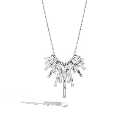 Bamboo Bib Necklace in Silver