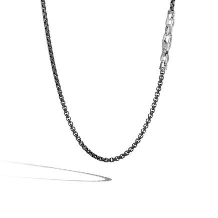 Classic Chain 4MM Box Chain Necklace in Blacked Silver