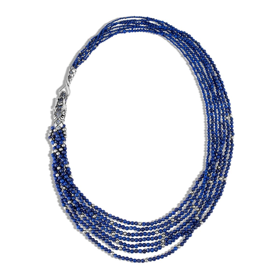 Legends Naga Bib Necklace in Silver, Gemstone