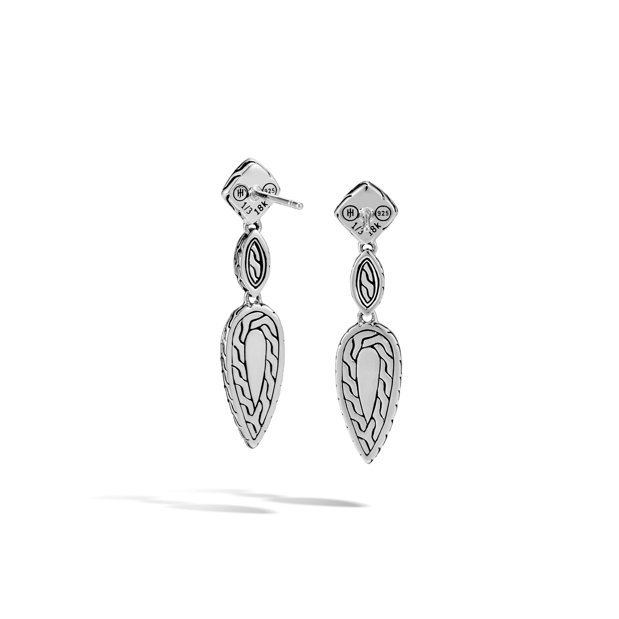 Classic Chain Drop Earring, Silver, Hammered 18K Gold, Gem