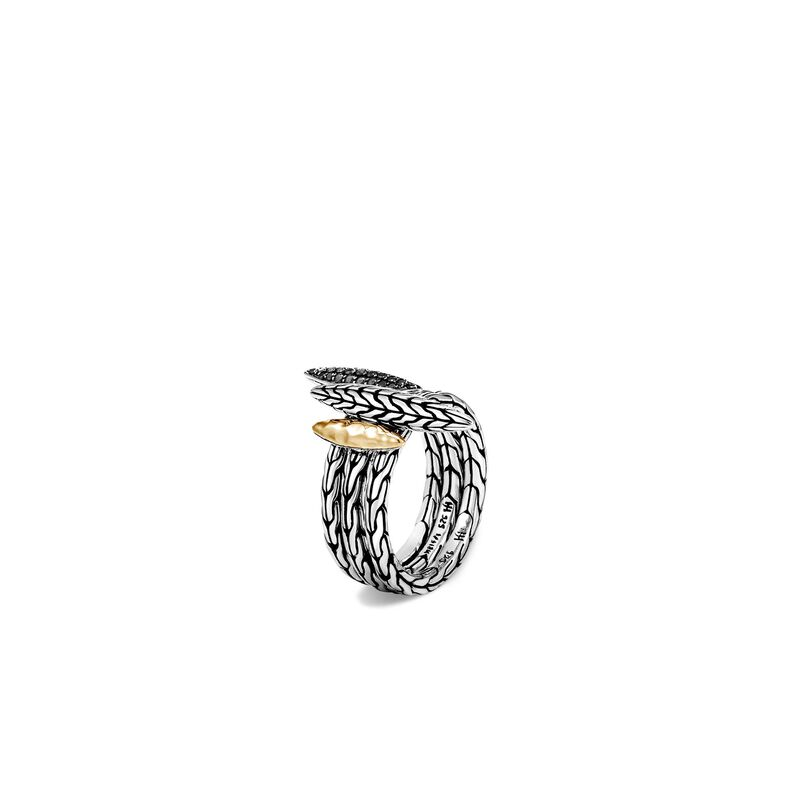 Classic Chain Spear Transformable Ring Set, Silver, 18K Gold, Treated Black Sapphire, large