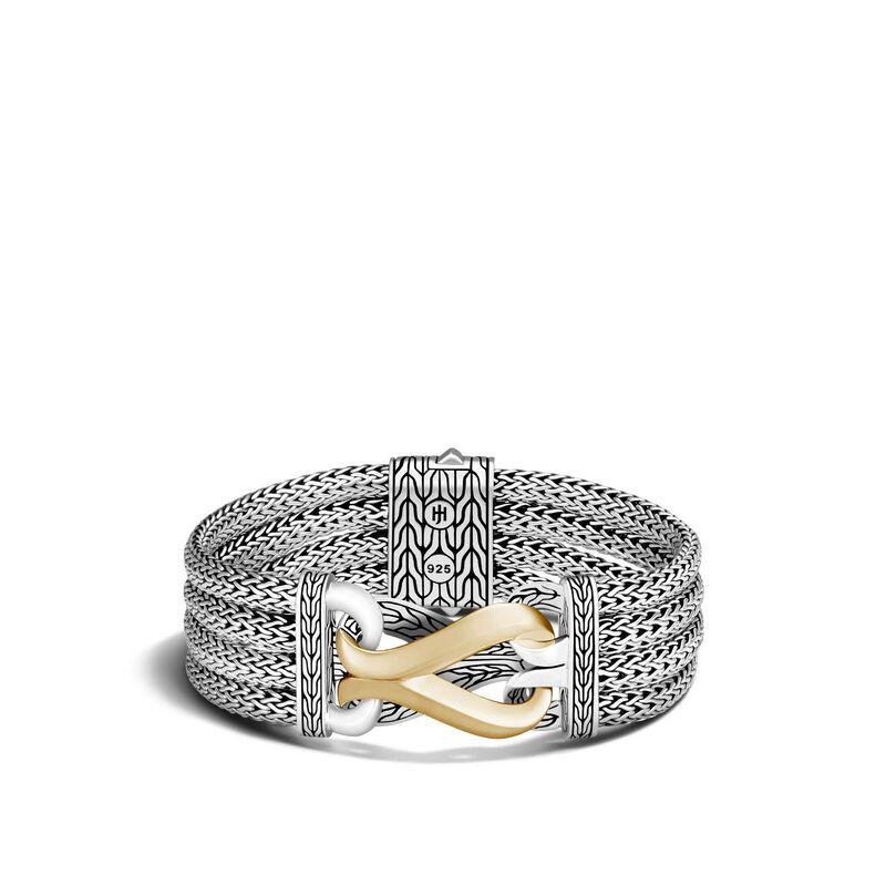 Asli Classic Chain Link Multi Row 20MM Bracelet, Silver 18K Gold, , large