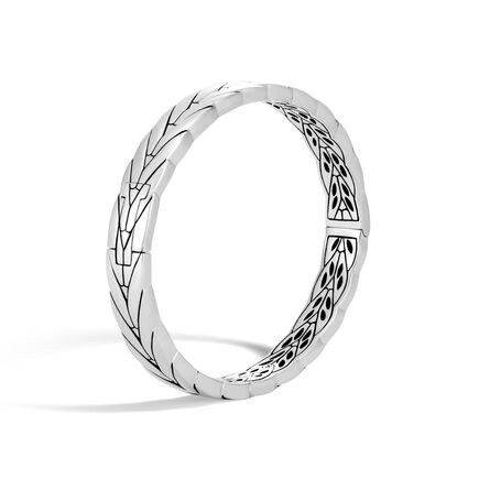 Modern Chain 8MM Hinged Bangle in Silver
