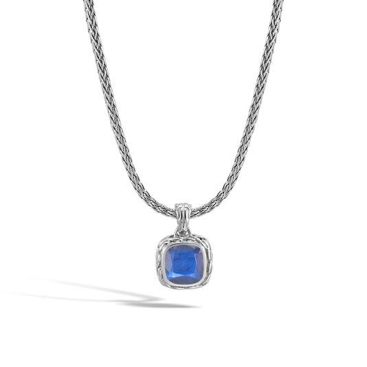 Classic Chain Magic Cut Pendant Necklace, Silver, 8MM Gem, Blue Labradorite, large