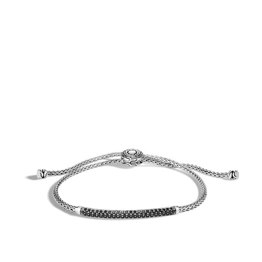 Classic Chain Station Pull Through Bracelet , Silver, Gemstone, Black Spinel, large