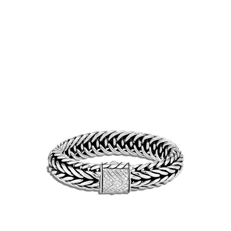 Kami Chain 15MM Bracelet, White Diamond, large