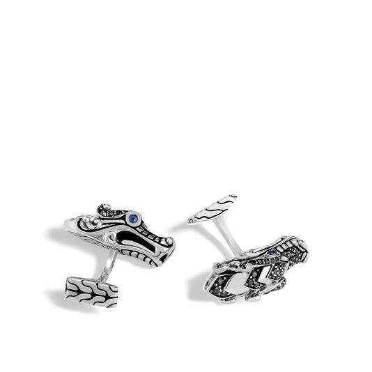 Legends Naga Cufflinks in Silver with Gemstone, Black Spinel, large