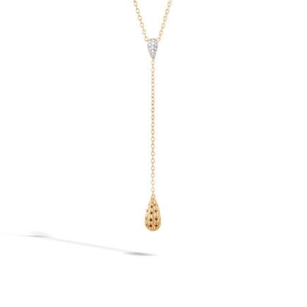 Classic Chain Y Necklace in 18K Gold with Diamonds