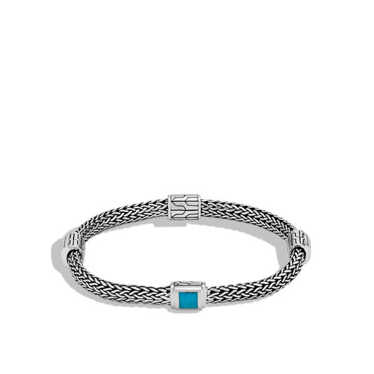 Classic Chain 5MM Bracelet in Silver with Gemstone, Natural Arizona Turquoise, large