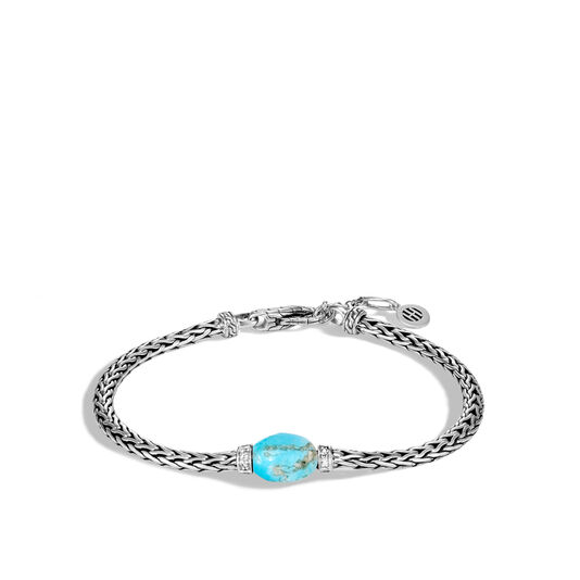 Classic Chain Bracelet in Silver with Gemstone, Turquoise, large