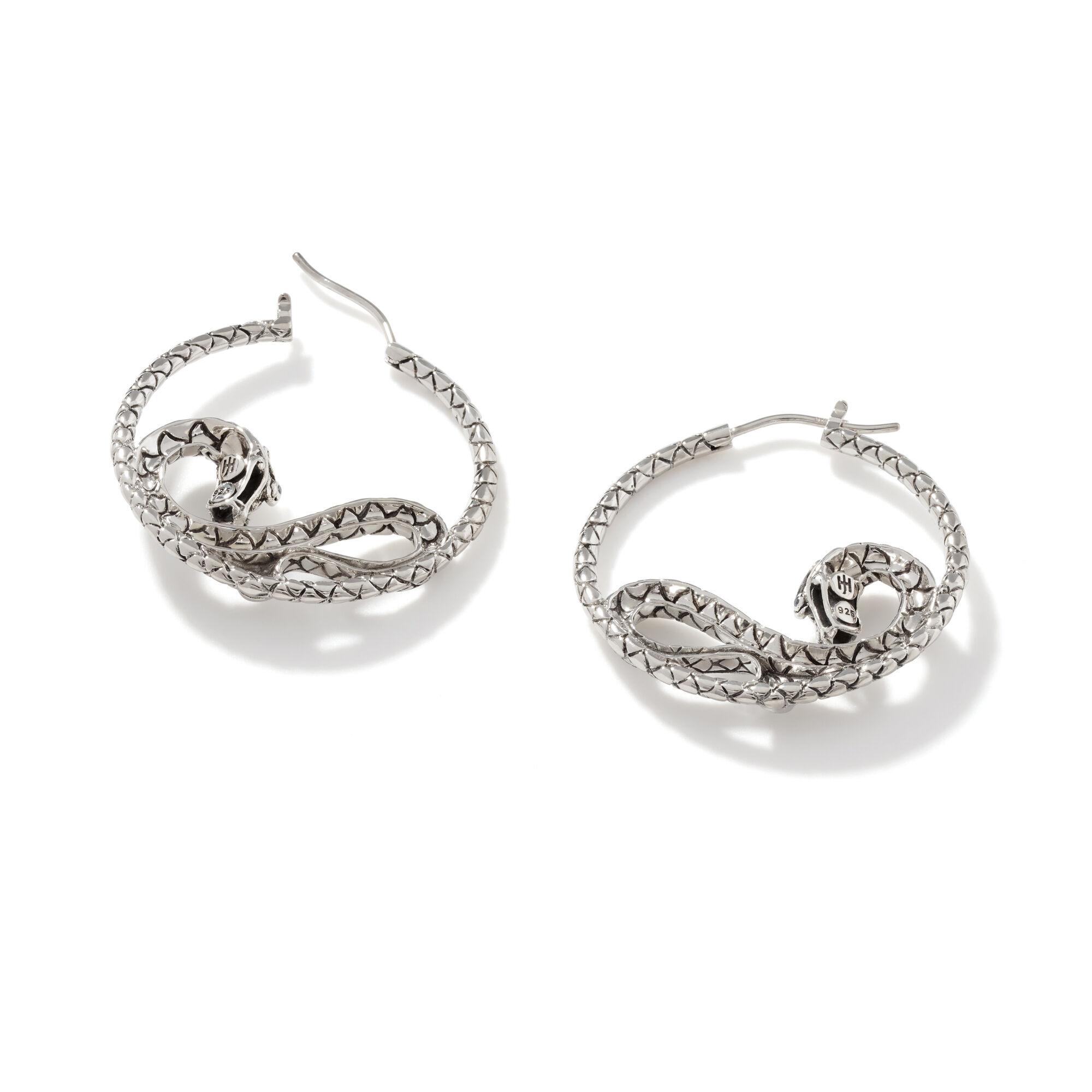 Legends Naga Medium Hoop Earrings in Silver, , large