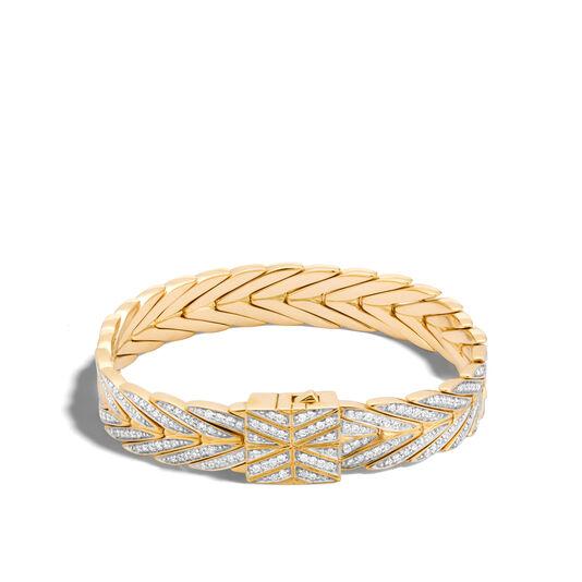 Modern Chain 11MM Bracelet in 18K Gold with Diamonds, White Diamond, large