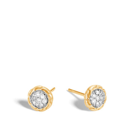 Classic Chain Stud Earring in 18K Gold with Diamonds