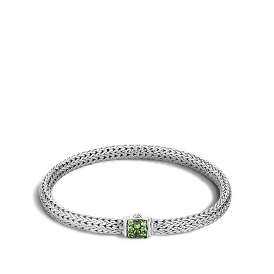 Classic Chain 5MM Bracelet in Silver with Gemstone, Tsavorite, large