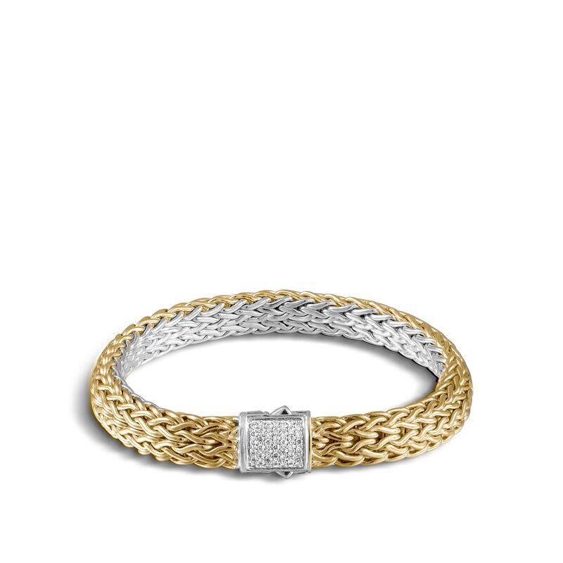 Classic Chain 7.5MM Reversible Bracelet, Silver, 18K, Diamond, White Diamond, large