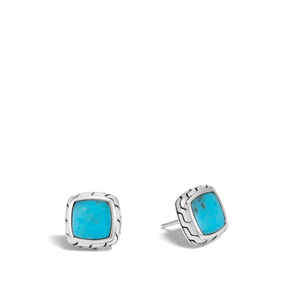Classic Chain Stud Earring in Silver with Gemstone