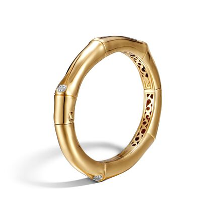 Bamboo 8MM Hinged Bangle in 18K Gold with Diamonds