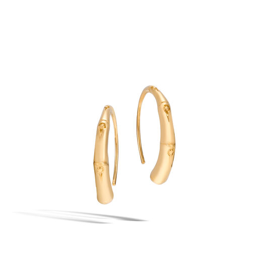 Bamboo Small Hoop Earring in 18K Gold, , large