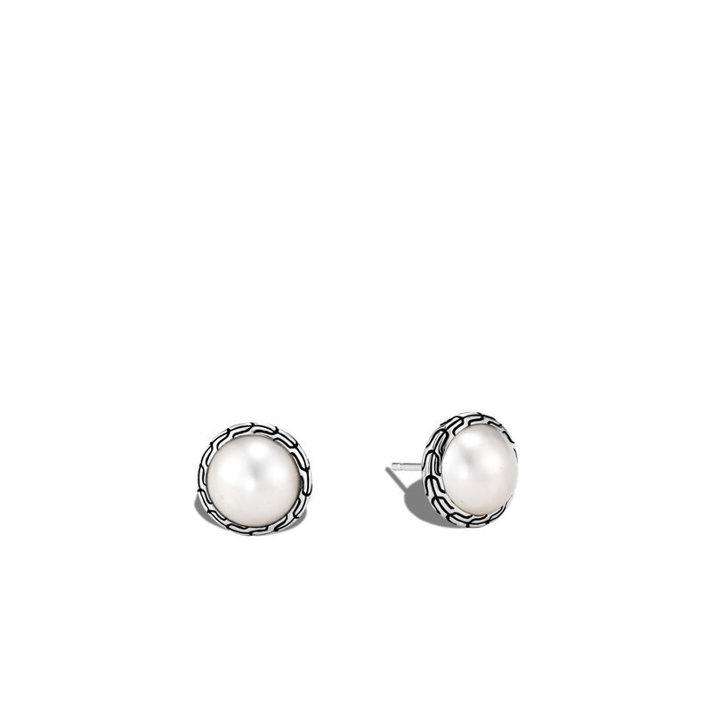Classic Chain Stud Earring in Silver with 10MM Pearl, Mabe Pearl, large