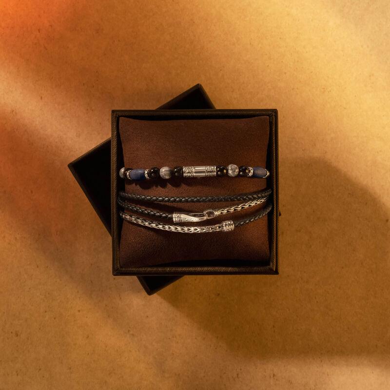 Beaded and Triple Wrap Bracelet Set in Silver , Black Onyx, large