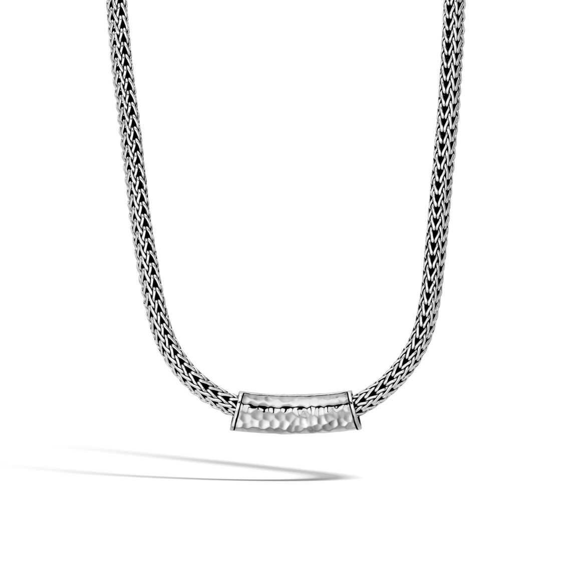 Classic Chain Pendant in Hammered Silver