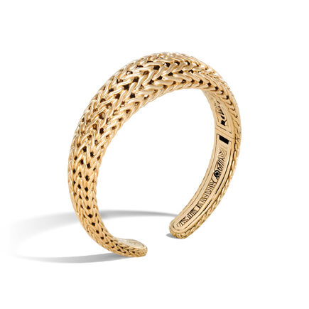 Classic Chain 12MM Graduated Kick Cuff in 18K Gold