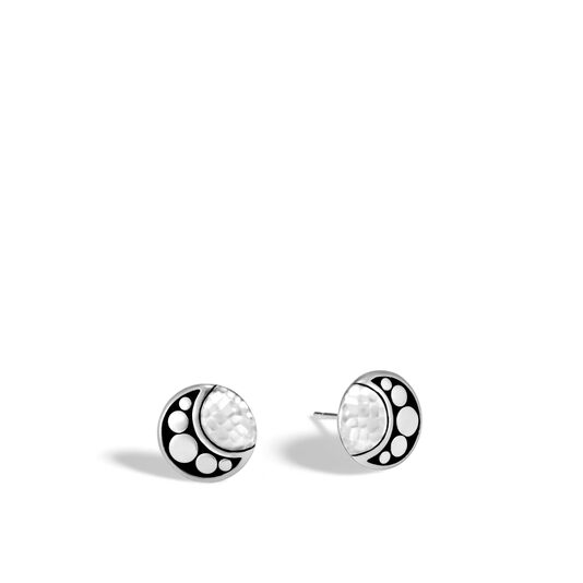 Dot Moon Phase Stud Earring in Hammered Silver, , large