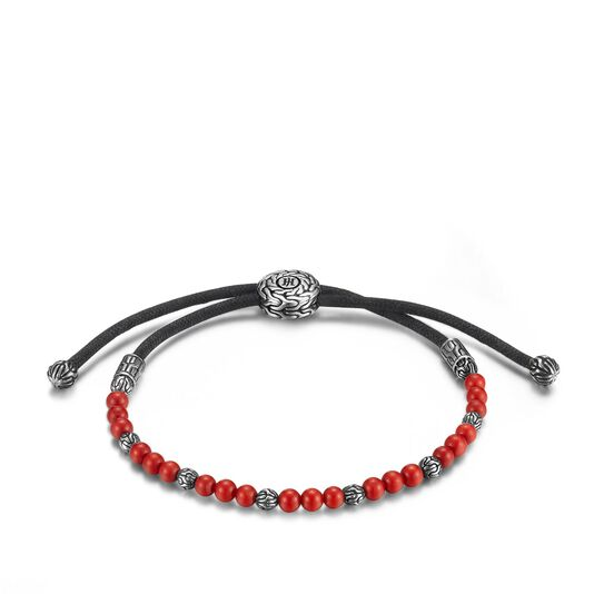 Men's Classic Chain Pull Through Bead Bracelet in Silver, Red Coral, large