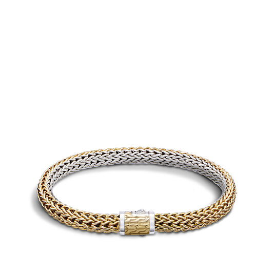 Classic Chain 6.5MM Reversible Bracelet, Silver, 18K Gold, , large