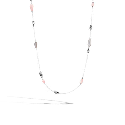 Classic Chain Station Necklace in Silver with Gemstone , Pink Opal, large