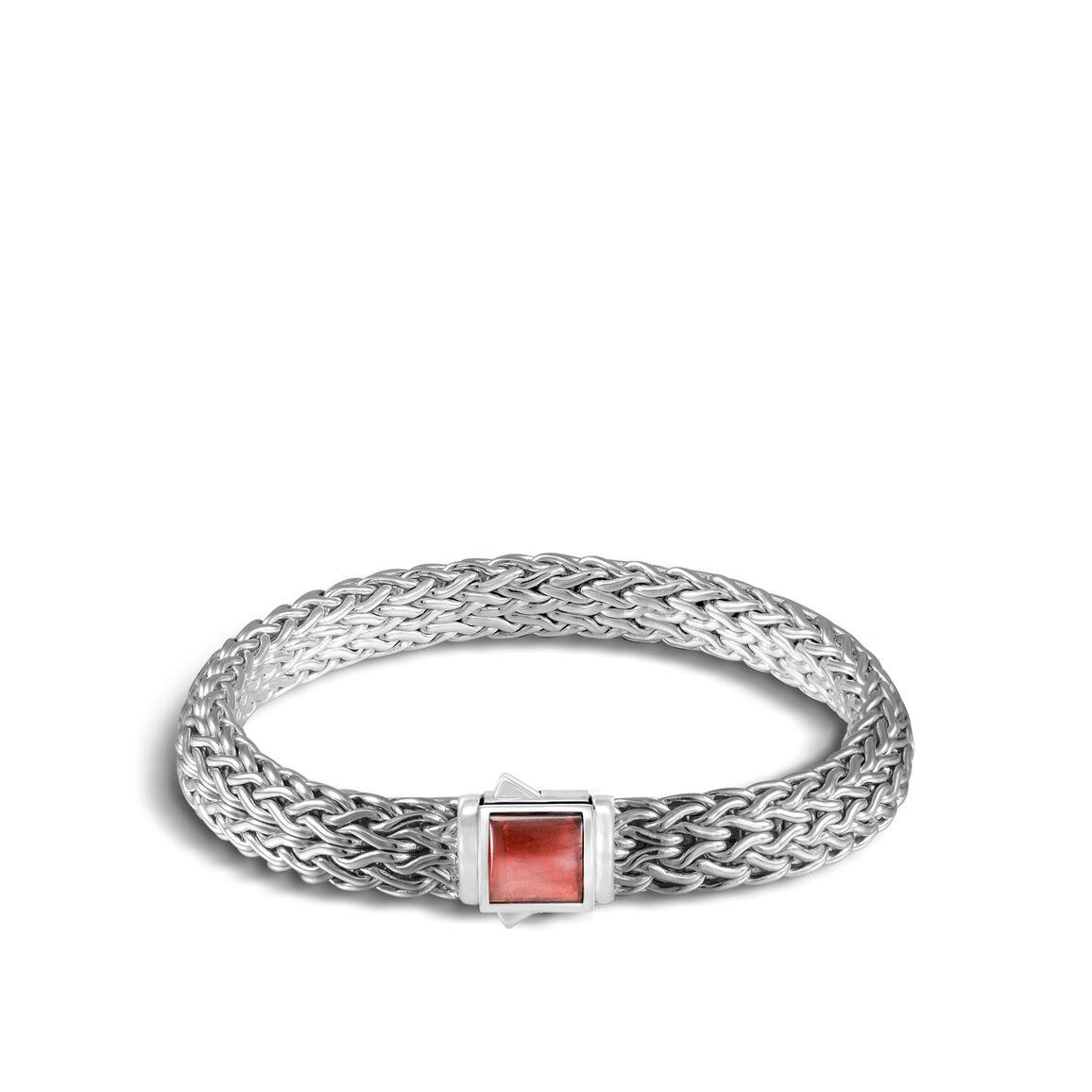 Reversible 7.5MM Bracelet, Silver with Gemstone
