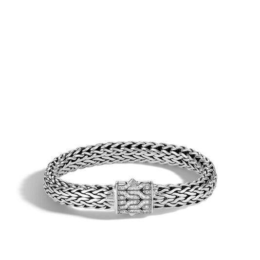 Classic Chain 11MM Bracelet in Silver with Diamonds, White Diamond, large