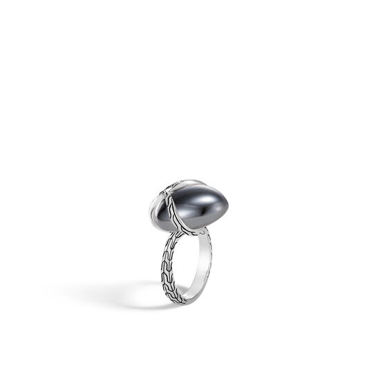 Classic Chain Ring in Silver with 14MM Gemstone, Hematite, large
