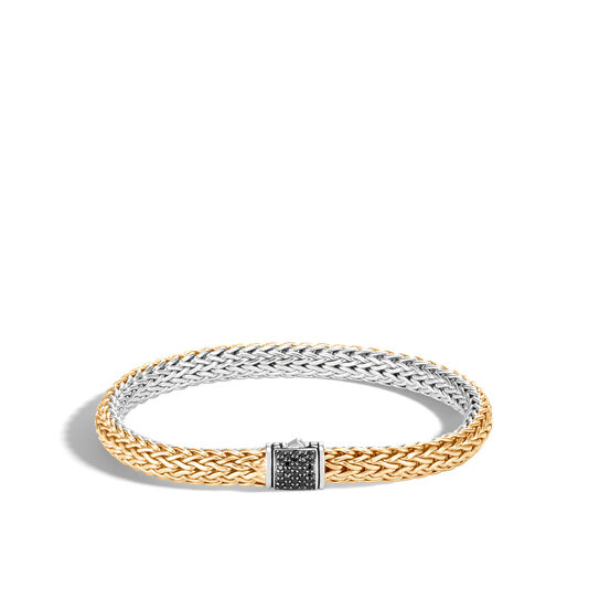 6.5MM Reversible Bracelet in Silver and 18K Gold with Gemstone, Black Spinel, large