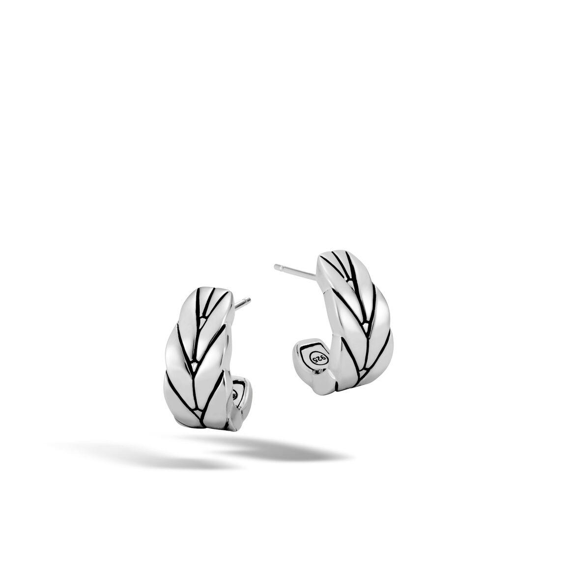 Modern Chain Small J Hoop Earring in Silver