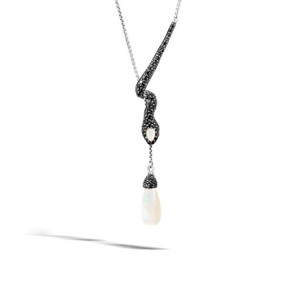Legends Cobra Drop Necklace in Silver with 15x7MM Gemstone